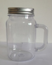 16OZ single wall mason jar mug with straw